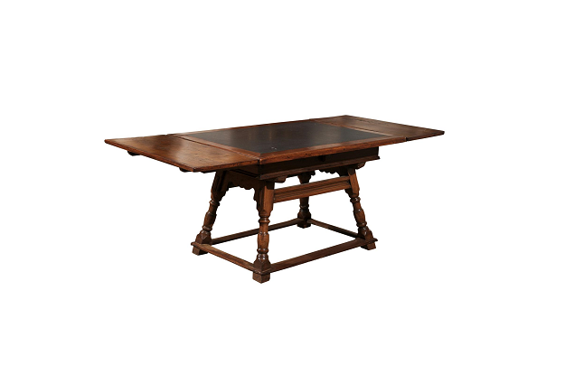 Swiss Wooden Draw-Leaf Extension Dining Table with Inset Slate Top circa 1820