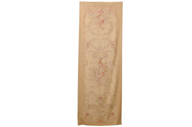 French 19th Century Vertical Hand-Woven Tapestry with Floral Décor and Volutes