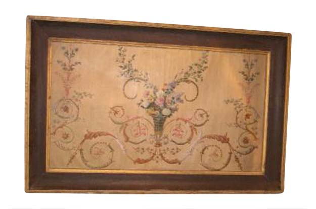 18th Century French floral painted panel from Toulouse - Pent