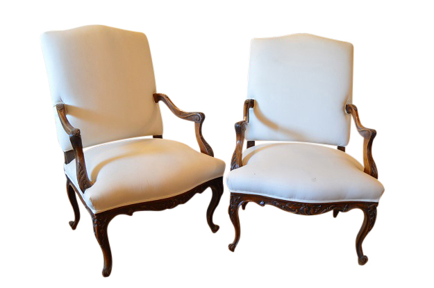 Pair of 19th Century Regence Style Arm Chairs in Walnut