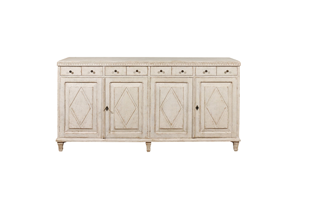 ON HOLD - Swedish Gustavian Style Painted 1850s Enfilade with Eight Drawers and Four Doors