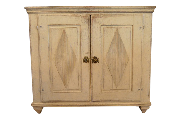 SOLD - Swedish 1830 Gustavian Style Painted Wood Buffet with Diamond Motifs and Gallery