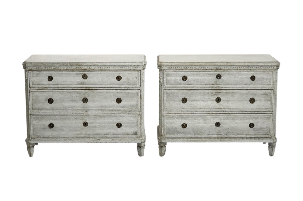 On Hold - Pair of Swedish 1830s Gustavian Commodes with Reeded Motifs and Canted Sides