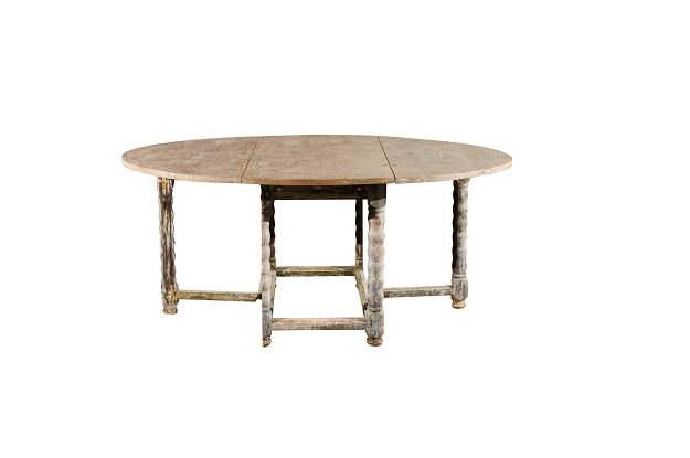 SOLD - Swedish 18th Century Painted Drop Leaf Gateleg Table, Circa 1750