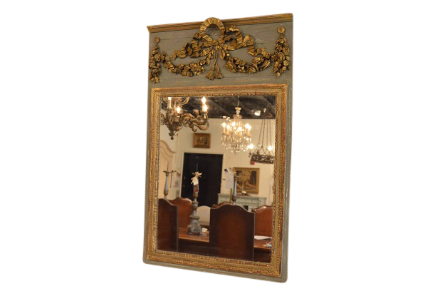 French Carved and Painted Trumeau Mirror Made From an Antique Boisserie