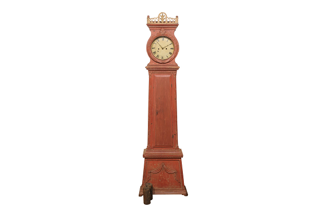 Swedish 1810s Neoclassical Tall Case Clock with Original Painted Finish and Swag