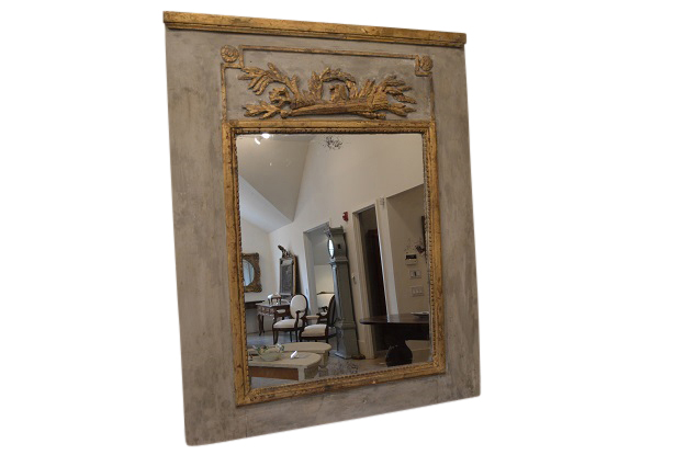 French Trumeau Mirror  From a 19th Century Boiserie