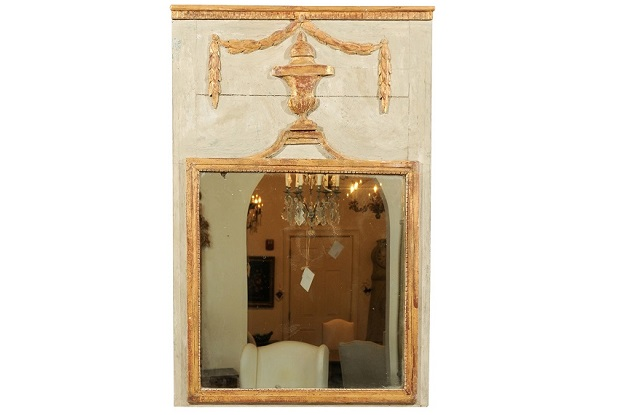 French Painted and Giltwood Trumeau Mirror Made from a 19th Century Boiserie