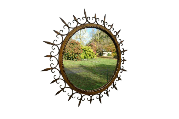 French Gilded Forged Iron Sunburst Mirror with Stylized Fleurs-de-Lys Motifs