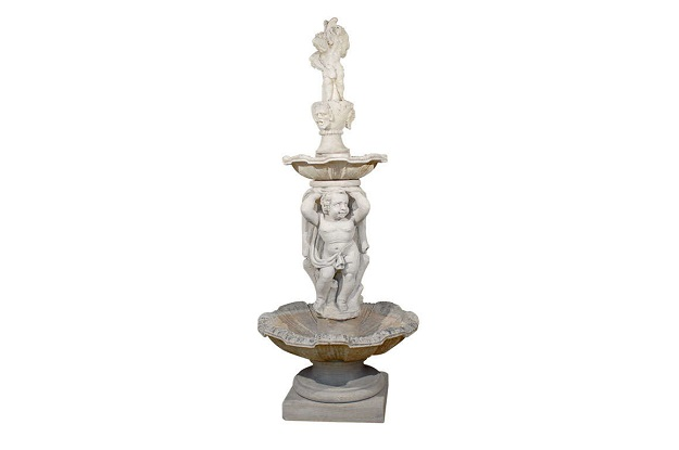 Italian Carved Stone Two-Tiered Garden Fountain from Vicenza
