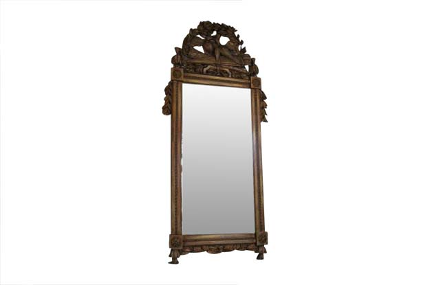 French 18th Century Louis XVI Carved Gilt Mirror, Circa 1780