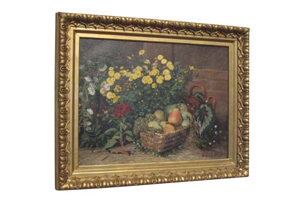 19th Century French Still Life Oil Painting Signed Victor Renault-des-Graviers
