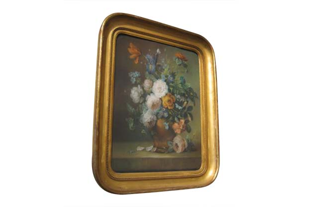 19th Century French Framed Pastel Floral Painting