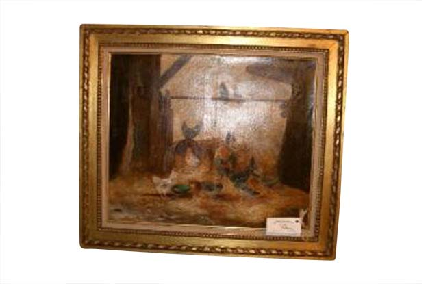 19th Century framed oil on canvas paintings of roosters and hens Signed Jamas