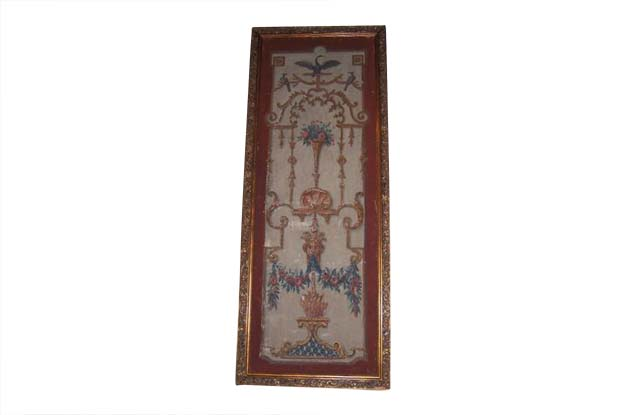 French Pair of Early 18th Century Period Regence Framed Oil On Canvas Wall Panels. Circa 1720