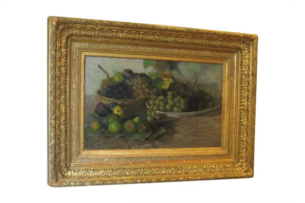 French 19th Century Framed Oil on Canvas Painting of Fruit, Circa 1875