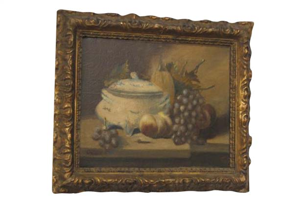 French 19th Century Framed Oil on Canvas Painting of Fruit and Porcelain - Signed