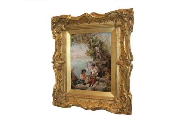 French 19th Century Continental School Venetian Lagoon Painting in Carved Giltwood Frame