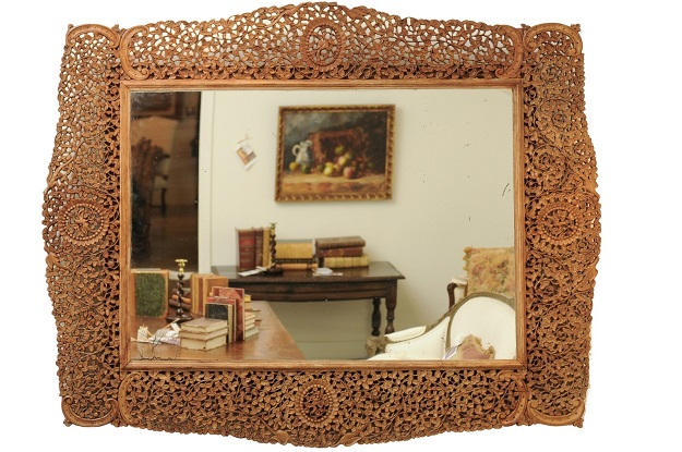 1840s Burmese Carved Wood Openwork Mirror with Rinceaux and Bird Motifs