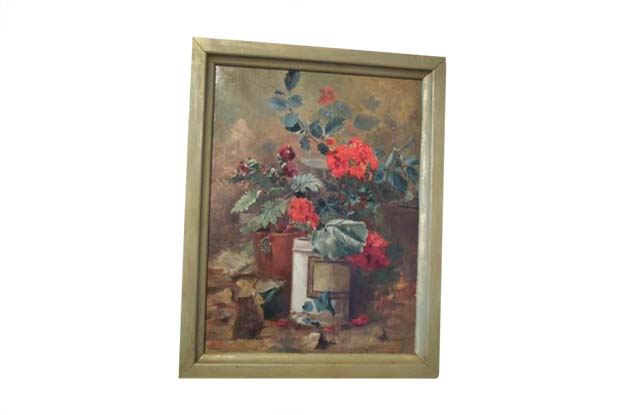 French 19th Century Oil on Canvas Floral Still life Painting – Signed