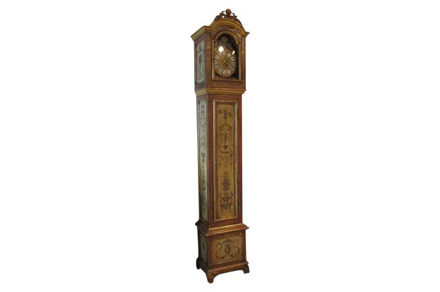French 19th Century Longcase Painted Clock with Carved Crest and Classical Décor