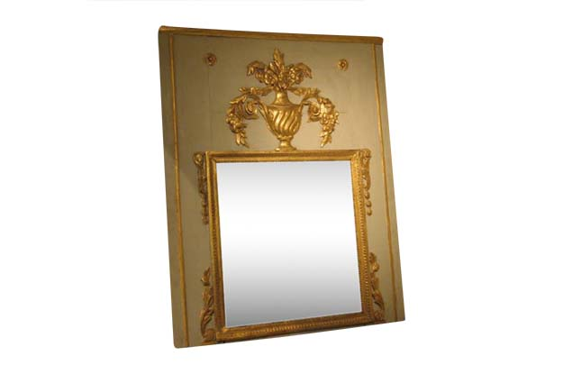 18th Century French Painted & Gilt Mirror - Transition c. 1775