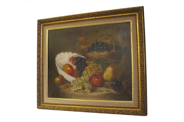 French 19th Century Oil On Canvas Still Life Painting of Fruit
