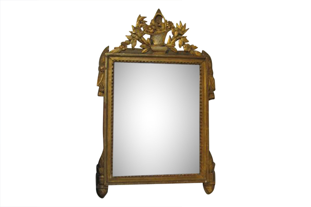 French 18th Century Louis XVI Carved Giltwood Mirror, Circa 1790