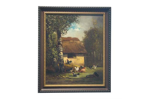 19th Century French oil on canvas Painting of Roosters and Barnyard Scene - signed by Norman