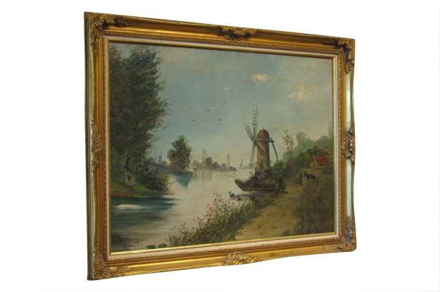 French Early 20th Century Oil on Canvas Landscape Painting with Giltwood Frame, Signed Eugene Petitpas,  Circa 1902.