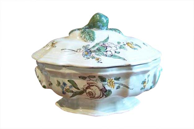 18th Century French Faience Tureen- Oval Shape- Floral Decoration- From Bordeaux Circa 1750