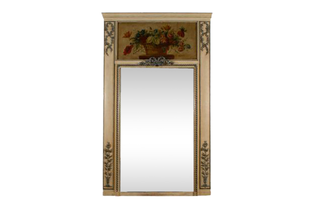 1810s French Louis XVI Style Painted and Gilt Trumeau Mirror with Floral Motifs
