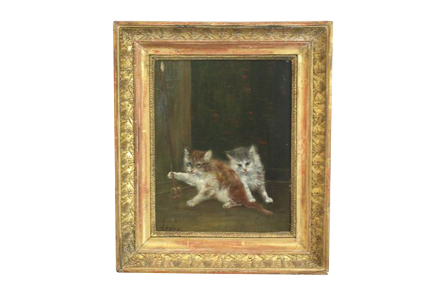 French 1890s Oil on Canvas Painting Featuring Playing Kittens in Giltwood Frame