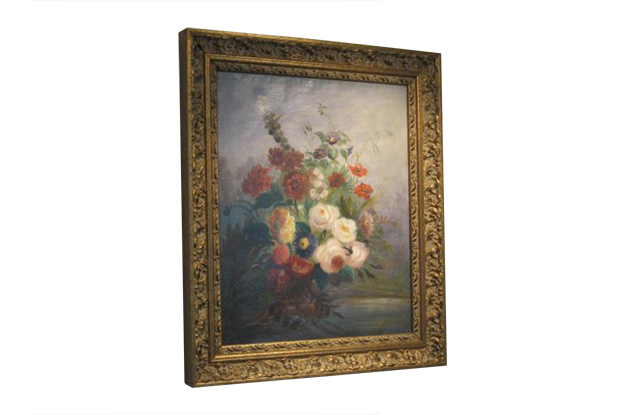 French 19th Century Oil on Canvas Painting of Flowers, Circa 1830