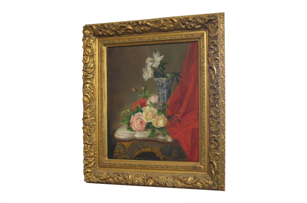 French 19th Century Oil Painting of Flowers and Blue and White Vase in a Gilded Frame