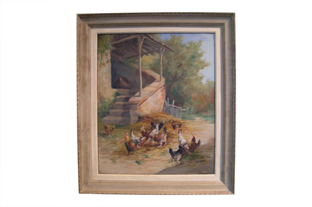 French 19th Century Framed Oil on Canvas Painting of a Barnyard with Chickens, Circa 1890