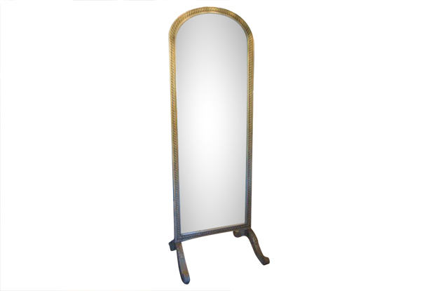 19th Century Painted French Standing Mirror  Mizz