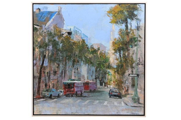 Charleston Desire II, American Contemporary Framed Painting of Square Format