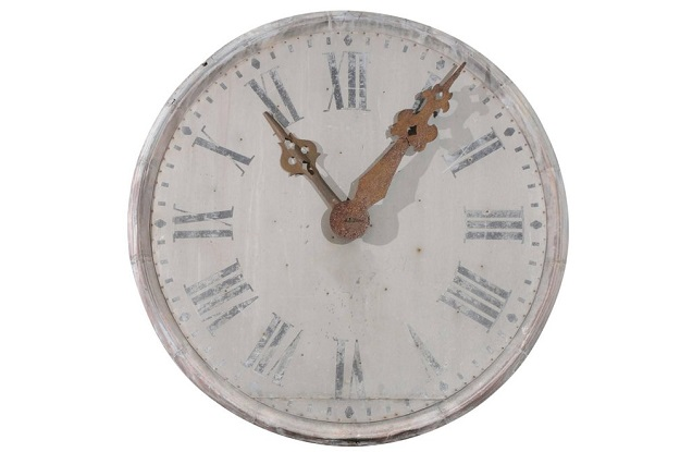 Large French 1880s Zinc Decorative Clock Face with Roman Numerals and Iron Hands