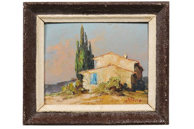 Petite French Framed Oil Painting Depicting a Provençal Country Scene, 1890s