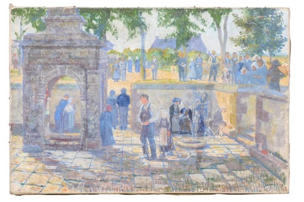 French 1890s Oil Provençal Painting of a Social Gathering in Shades of Blue