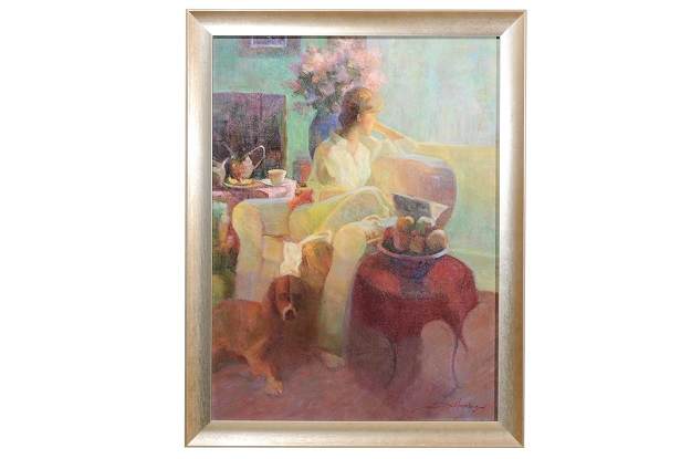 Quiet Morning, Don Hatfield Framed Vertical Interior Scene Oil Painting, 2010s