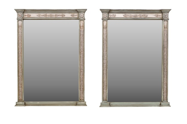 Neoclassical Style Mirror Made from 1750s French Door Frames with Carved Décor