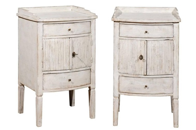 SOLD Pair of 1820 Swedish Göteborg Gustavian Painted Bedside Tables with Reeded Doors