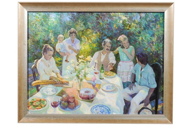 Family Joy, Don Hatfield Contemporary Framed Garden Oil on Linen Painting
