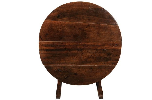SOLD - French 1750s Round Tilt-Top Wine Tasting Table with Trestle Base and Wedge