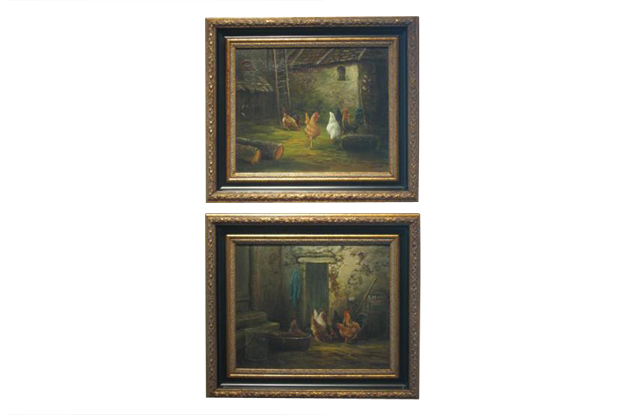 French 19th Century Pair of Oil on Canvas Framed and Signed Paintings of Roosters and Chickens