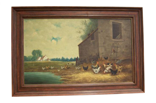 French 19th Century Oil on Canvas of Farmyard with Chickens