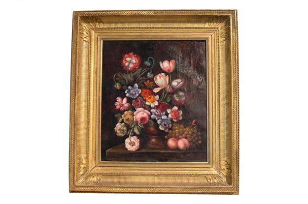 French 19th Century Framed Oil on Canvas Still Life in the Style of the Dutch School