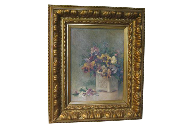 French 19th Century Oil on Board Framed Painting, Still Life of Pansies, Signed